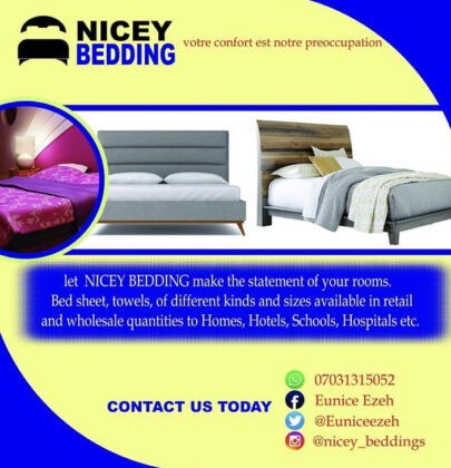Business advert ; check out niceybeddings